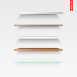 Set of Glass, Wood, Plastic, Metal Shelves in Vector Isolated on Royalty Free Stock Image