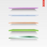 Set of Glass, Wood, Plastic, Metal Shelves in Vector Isolated on Royalty Free Stock Images