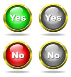 Set of glass Yes - No buttons Stock Photos