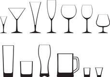 Set of glasses. Set of empty glasses icon Royalty Free Stock Photo