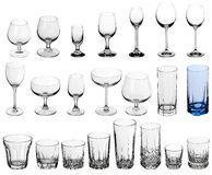 Set of glasses for alcoholic drinks Stock Photos