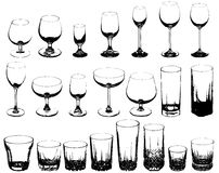Set of glasses for alcoholic drinks Royalty Free Stock Photos