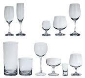 Set of glasses for alcoholic drinks. On white Stock Photo