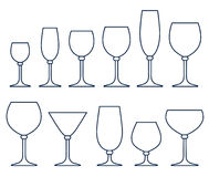 Set of glasses for alcoholic drinks Royalty Free Stock Image
