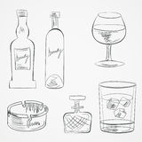 Set of glasses and bottles Royalty Free Stock Photography
