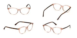 Set glasses business style transparent isolated on white background. Collection fashion office eye glasses.  stock photo