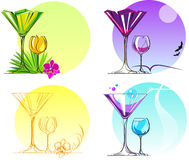 Set of Glasses. Cocktail sets a different theme options Stock Photos