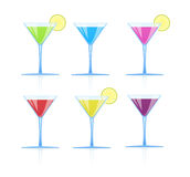 Set of glasses with different colored drinks Royalty Free Stock Image