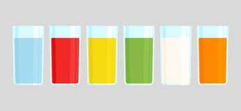 Set of glasses with drinks. Vector illustration royalty free illustration