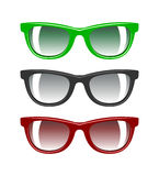 A set of glasses for eyes of different colors red green black is Royalty Free Stock Photo