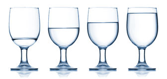 Set of glasses filled with water Royalty Free Stock Photography