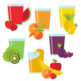 Set of glasses with fresh juice Royalty Free Stock Image