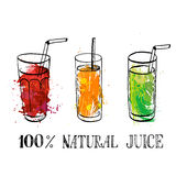Set of glasses with fruit juice Royalty Free Stock Images
