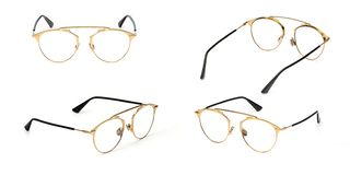 Set glasses gold metal material transparent isolated on white background. Collection fashion office eye glasses.  royalty free stock photography