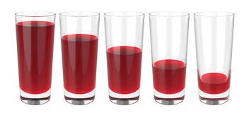 Set of glasses of grapes juice on white background, 3D rendering Royalty Free Stock Photo