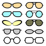 Set of glasses isolated. Glasses icons. Stock Photo