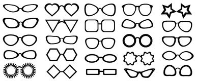Set of glasses isolated. 25 pieces.  Vector illustration on white background. Glasses model icons, man, women frames. Royalty Free Stock Photos
