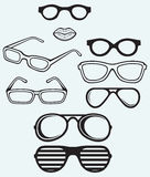 Set glasses and lips silhouettes Royalty Free Stock Images