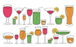 Set of glasses with liquid. Drinks cocktails vector illustration. royalty free illustration
