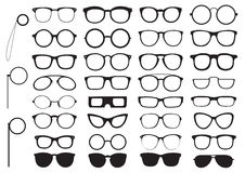 Set of glasses silhouettes Stock Image