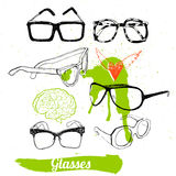 Set glasses and sunglasses Royalty Free Stock Images