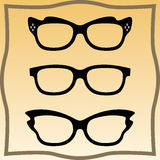 Set of glasses. Set of vector glasses set with black thick holder retro hipster. Medical huge eye glasses silhouette collection. Sign of intelligence, secretary Stock Photography