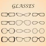 Set of glasses. Vector illustration. Set of black glasses illustration Stock Images