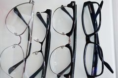 Set of glasses for vision, in different frames for all cases royalty free stock photos