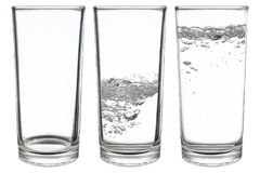 set of glasses of water isolated on white Royalty Free Stock Photography