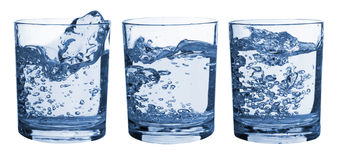 Set of glasses water splash Stock Photo
