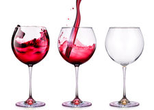 Set from glasses with wine isolated on a white Stock Photography