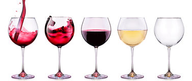 Set from glasses with wine isolated on a white Royalty Free Stock Photos