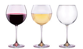 Set from glasses with wine isolated on a white Stock Photo
