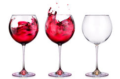 Set from glasses with wine isolated on a white Royalty Free Stock Photo