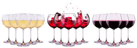Set from glasses with wine isolated on a white Royalty Free Stock Image