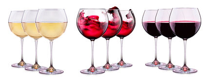 Set from glasses with wine isolated on a white Stock Images