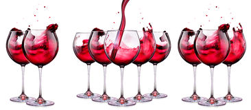 Set from glasses with wine isolated on a white Royalty Free Stock Images