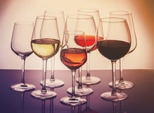 Set of glasses with wine Stock Photo