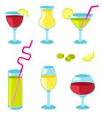 Set of glasses for wine. Set of six different glasses for wine. Cartoon illustration Royalty Free Stock Photo