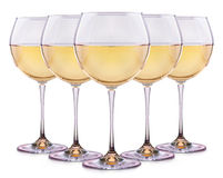 Set from glasses with wine on a white Royalty Free Stock Photos