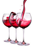 Set from glasses with wine on a white Stock Photo