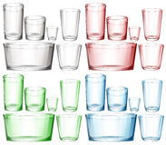 Set of glassware in different colors Stock Images