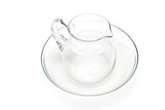 Set of glassware from the plate and the pitcher Royalty Free Stock Image