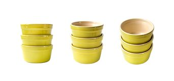 Set of glazed ceramic pots for cooking isolated. On white background stock photo