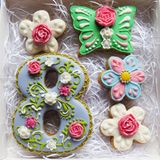 Set of glazed gingerbread to the World Women`s Day Stock Photography
