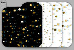 Set of Glitch Art Background. Gold Stars with Trandy Glitch Effe. Ct. Postcard, Packaging, Textile Print. Digital Stars Backdrop. Falling Golden Stars Confetti stock illustration