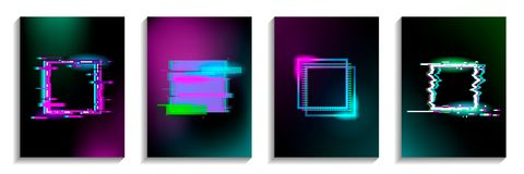 Set of Glitch squares with neon effect. Design for cards, invitations, covers, banners, flyers, posters. stock illustration