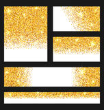 Set of Glitter Cards. Golden Surface. Copy Space for Your Text Royalty Free Stock Photography