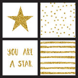 Set of glitter gold design cards with stars. Vector illustration Royalty Free Stock Images