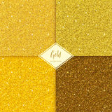 Set of glitter gold texture. Set of Golden sparkles texture with shine, glossy confetti, glitter background. Vector illustration seamless pattern, glamour style Royalty Free Stock Photography